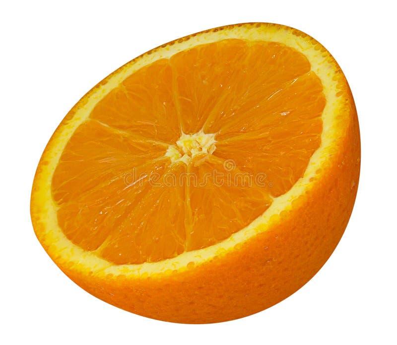 La rebanada anaranjada aislada en el fondo blanco, trayectoria de recortes incluye imagen de archivo