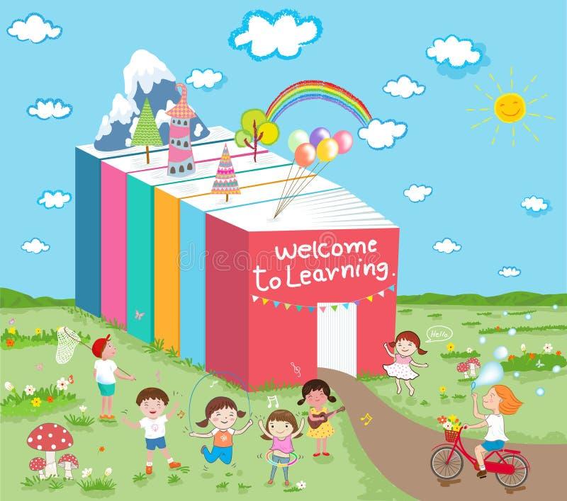 La recepción a aprender a niños se divierte stock de ilustración