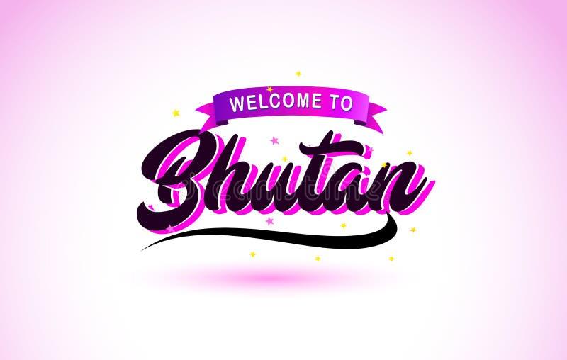 La recepción de Bhután a la fuente manuscrita del texto creativo con colores rosados púrpuras diseña libre illustration