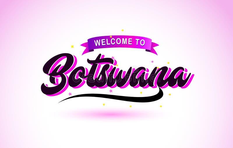 La recepción de Botswana a la fuente manuscrita del texto creativo con colores rosados púrpuras diseña stock de ilustración