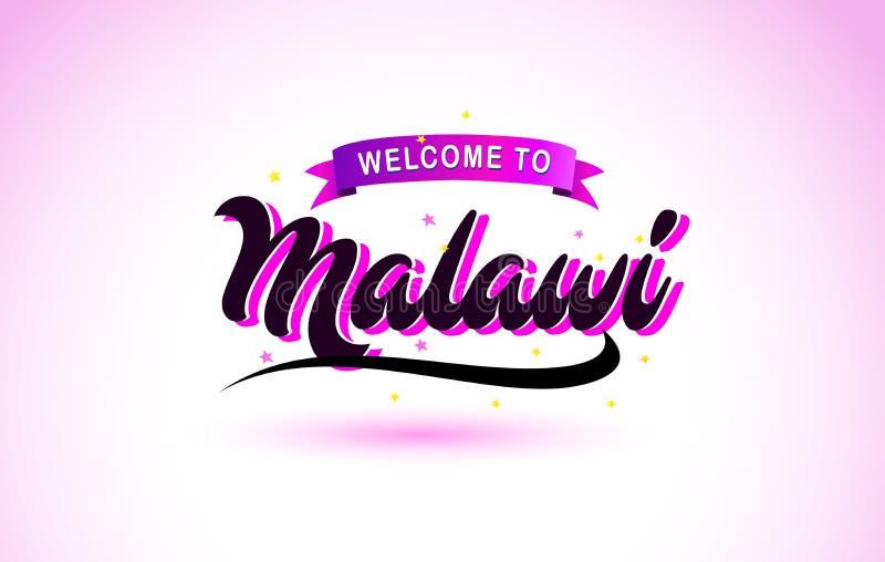 La recepción de Malawi a la fuente manuscrita del texto creativo con colores rosados púrpuras diseña stock de ilustración