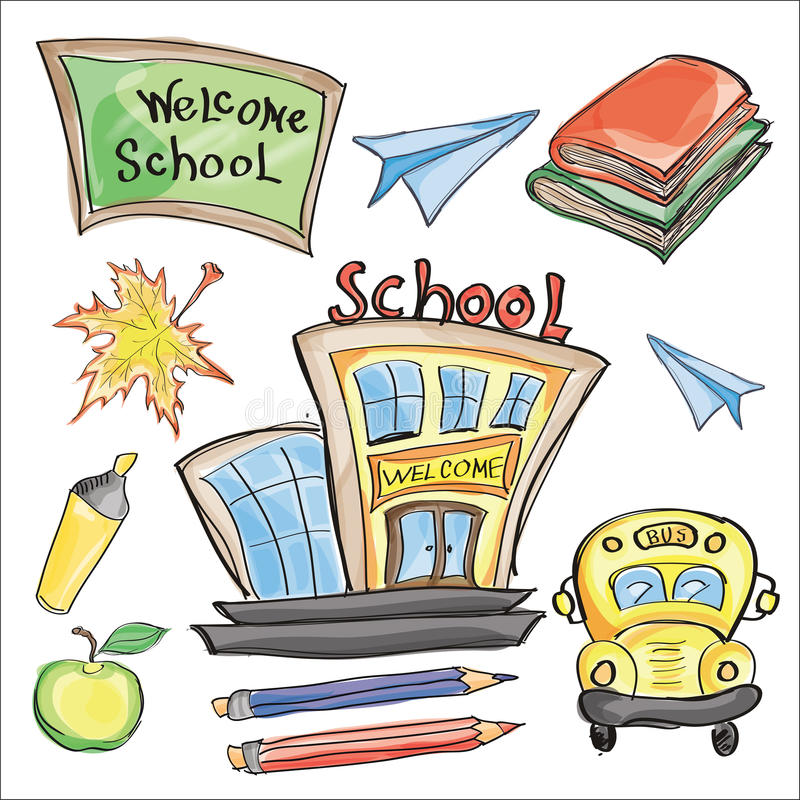 La recepción de nuevo a sala de clase de la escuela suministra garabatos del cuaderno stock de ilustración
