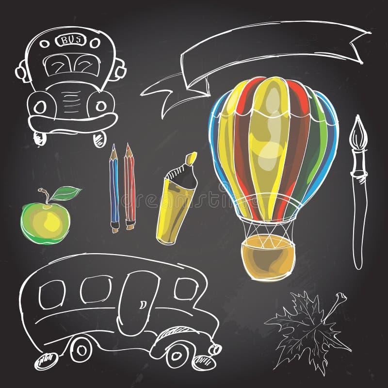La recepción de nuevo a sala de clase de la escuela suministra garabatos del cuaderno ilustración del vector