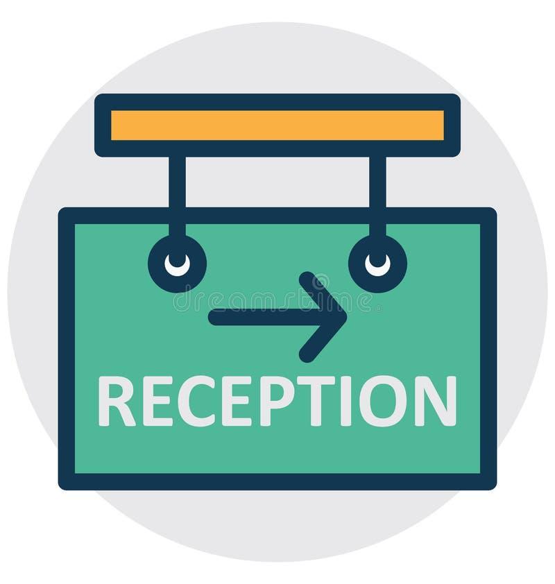 La recepción del hotel, letrero de la información aisló el icono del vector que puede modificarse o corregir fácilmente stock de ilustración