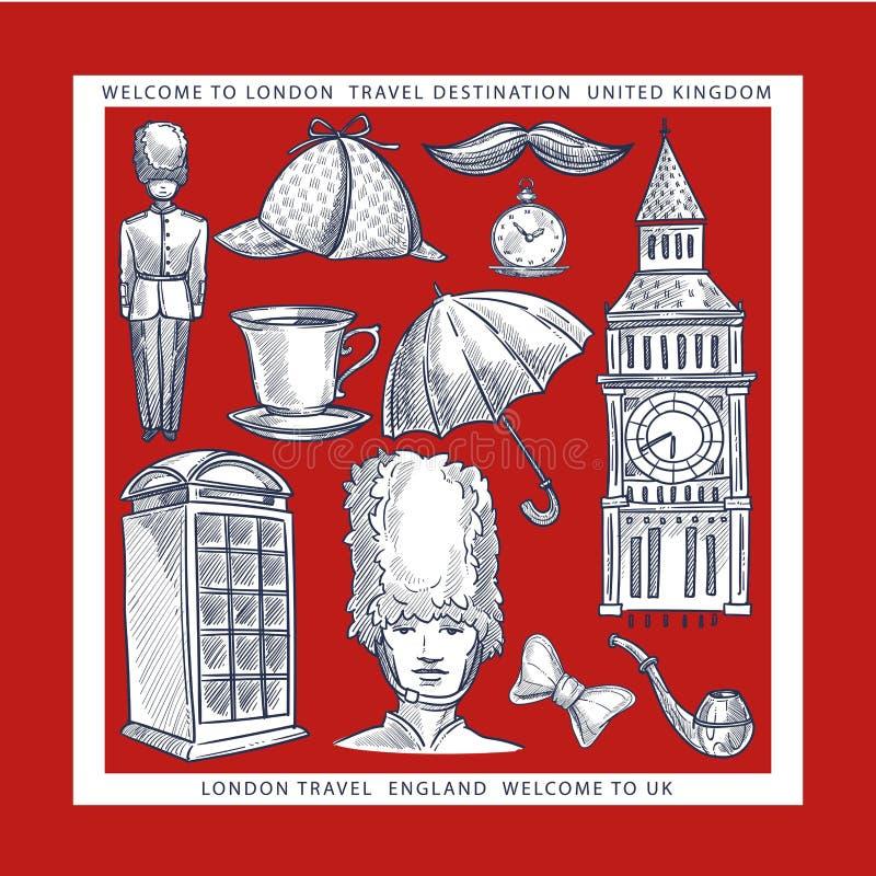 La recepción a los bosquejos de los símbolos de Inglaterra Londres viaja a Reino Unido stock de ilustración