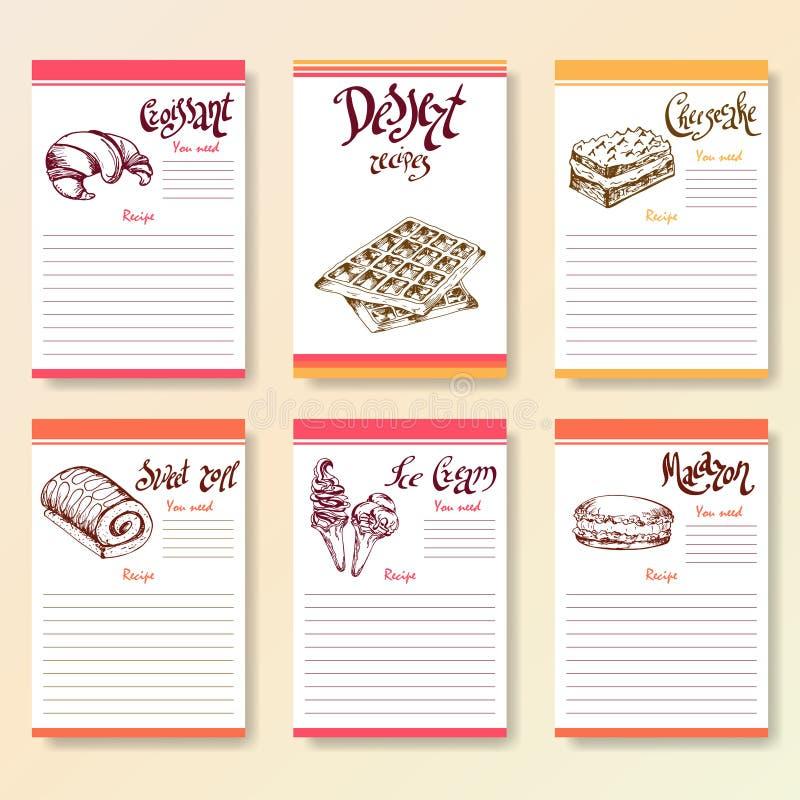 La receta esconde la colección Objetos del postre con las letras del amanecer de la mano Ejemplo de la comida del vector stock de ilustración