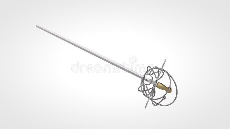 La recherche élevée 3d a rendu l'épée de rapière illustration stock
