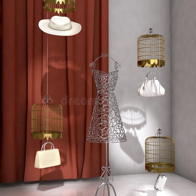 La recherche élevée 3d a rendu l'étalage de fenêtre de boutique de mode illustration libre de droits