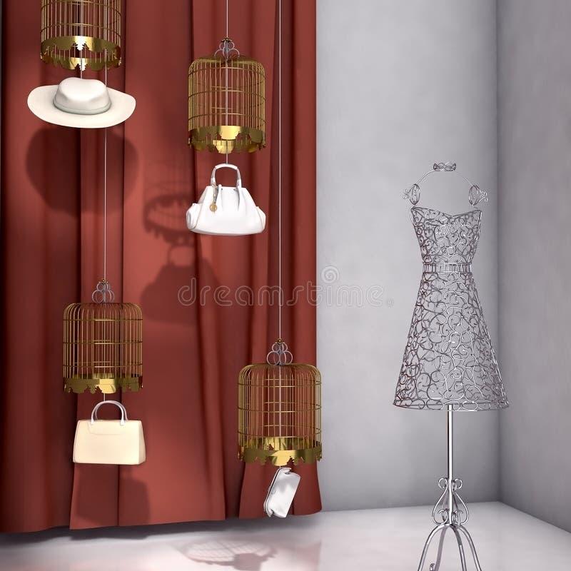La recherche élevée 3d a rendu l'étalage de fenêtre de boutique de mode illustration de vecteur