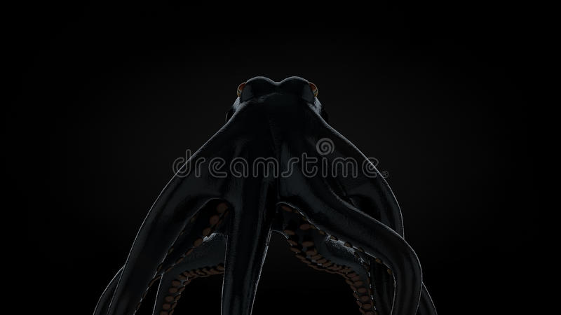 La recherche élevée 3d a rendu le poulpe effrayant illustration de vecteur