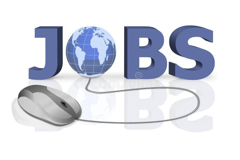 La recherche d'un emploi et trouvent l'annonce en ligne de positions vides illustration stock