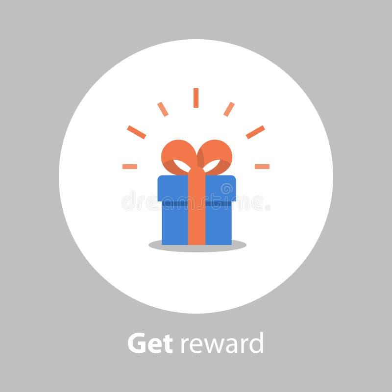 La recompensa y el concepto del incentivo, programa de la lealtad, redimen el regalo, icono plano stock de ilustración
