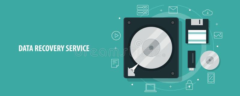 La recuperación de los datos, disco duro, disco, impulsión de la pluma, hallazgo perdió los datos, servicio, concepto de la exper ilustración del vector