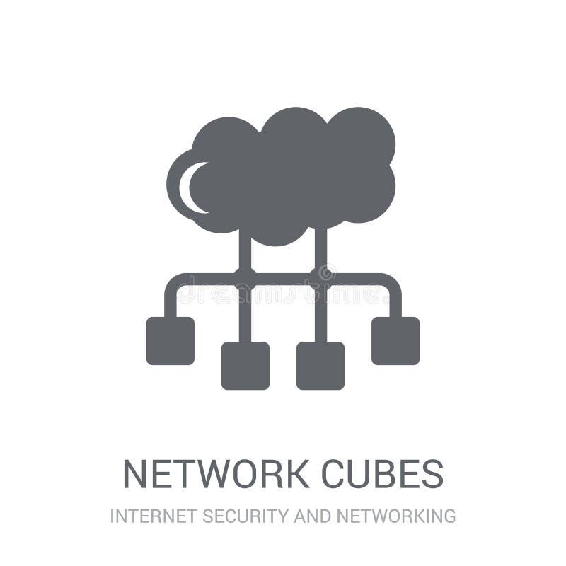 la red cubica el icono  stock de ilustración