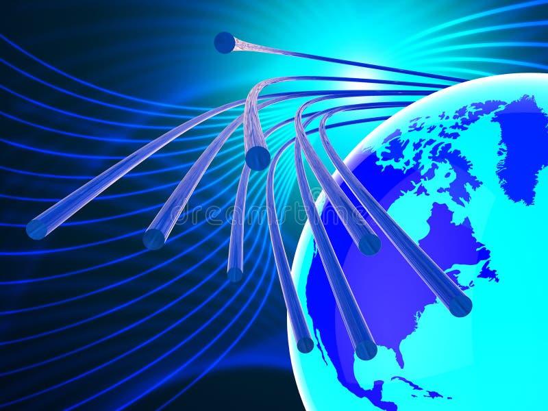 La red de fibra óptica representa el World Wide Web y Communicatio ilustración del vector
