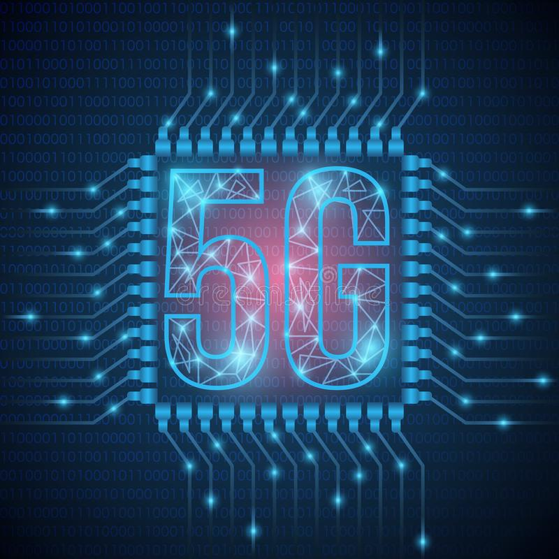 la red de la web 5g conecta los satélites alrededor de la tierra La web global del concepto del extracto conecta y las comunicaci stock de ilustración