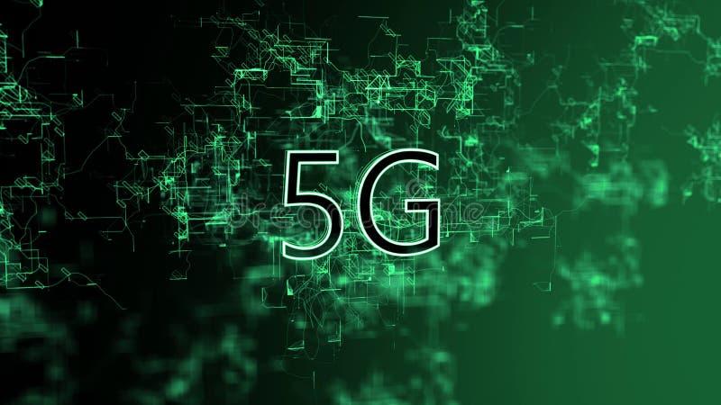 La red digital Texto 5G ilustración del vector