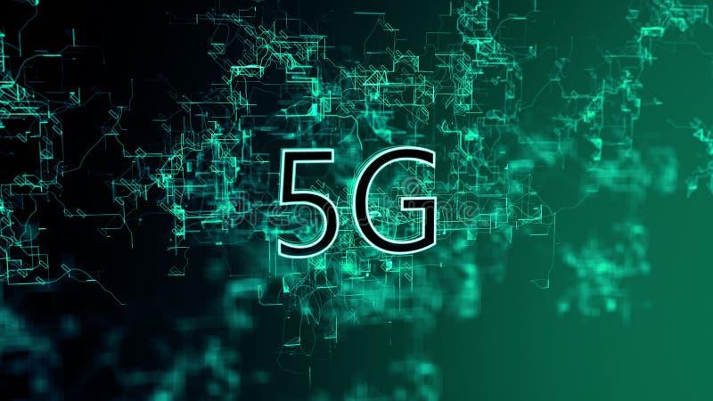 La red digital Texto 5G libre illustration
