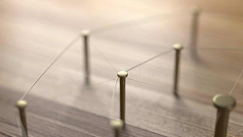 La red, establecimiento de una red, conecta, ata con alambre Lazo de entidades Red de los alambres del oro en la madera rústica stock de ilustración