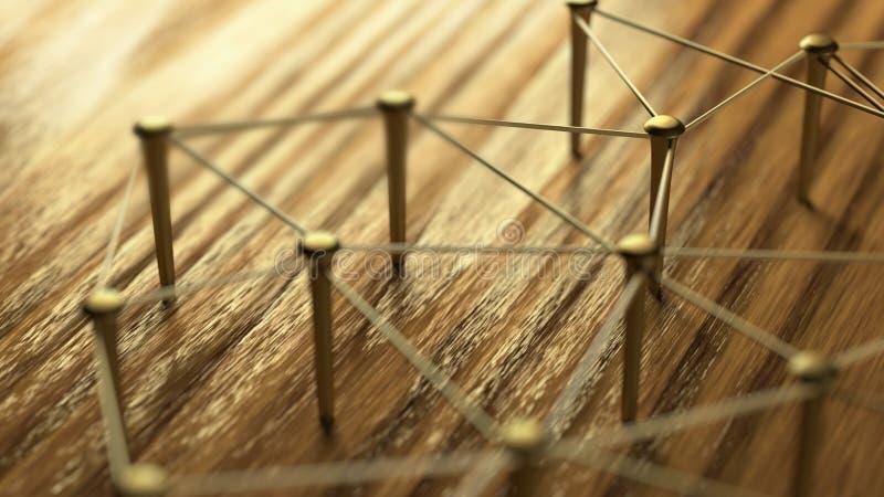 La red, establecimiento de una red, conecta, ata con alambre Lazo de entidades Red de los alambres del oro en la madera rústica imagen de archivo libre de regalías