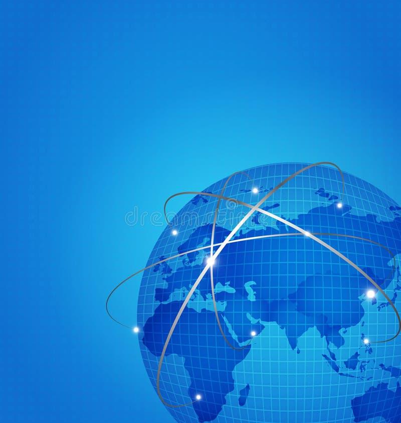 La red global de la tecnología con el mapa del mundo digital del punto, vector enfermedad stock de ilustración