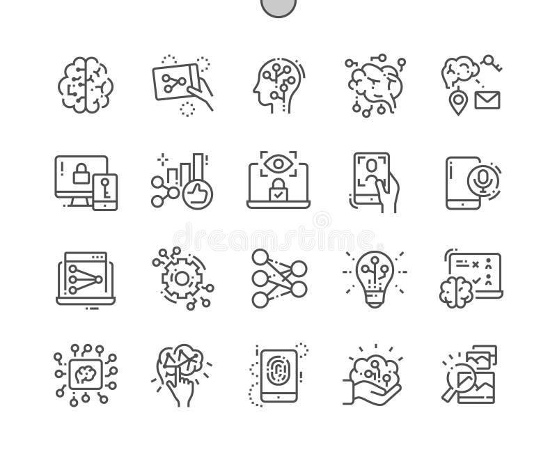 La red neuronal artificial Bien-hizo la línea fina rejilla 2x de los iconos 30 del vector a mano perfecto del pixel para los gráf stock de ilustración