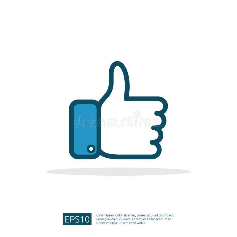 La red social le gusta el icono pulgar de la mano encima del símbolo para la web UI, logotipo, app con diseño plano del estilo libre illustration