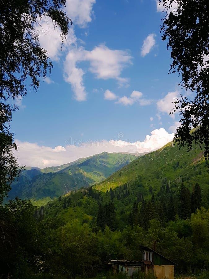 La regione di Almaty è famosa per le alte e belle montagne fotografia stock libera da diritti