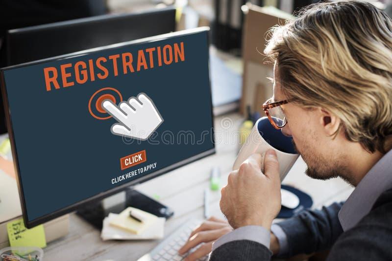 La registrazione del registro entra applica il concetto di appartenenza immagini stock