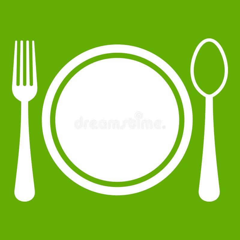 La regolazione di posto con l'icona del piatto, del cucchiaio e della forchetta si inverdisce illustrazione vettoriale