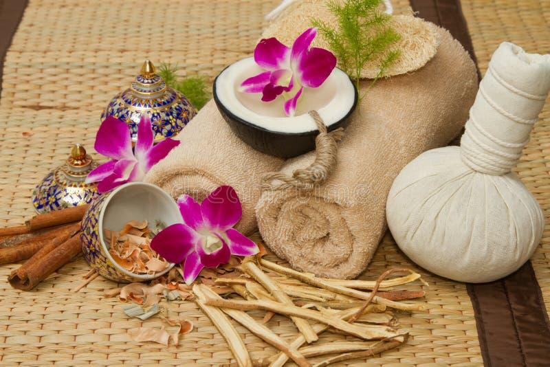 La regolazione tailandese di massaggio della stazione termale, l'olio di massaggio, corpo sfrega, asciugamani, Cinna fotografia stock libera da diritti