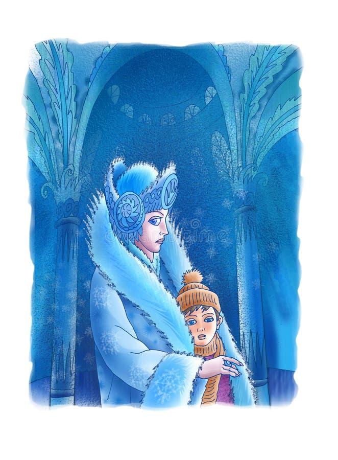 La reina de la nieve y el muchacho stock de ilustración