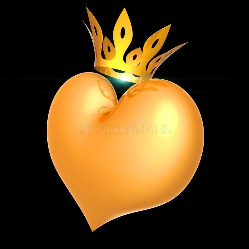 La reina real del corazón ama la vista lateral de la corona dorada Amo afortunado stock de ilustración
