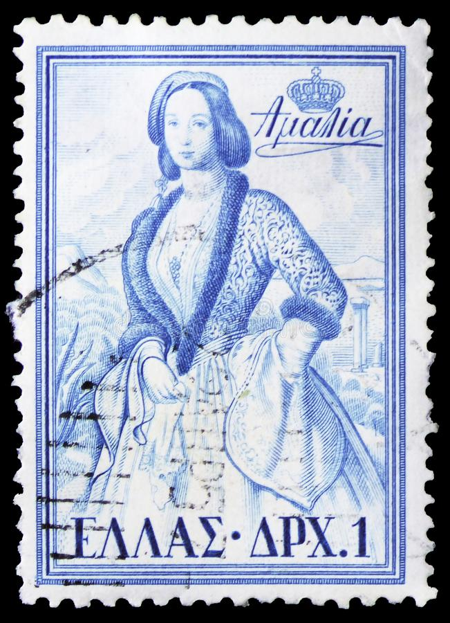 La Reine Amalia, serie grec de rois et de Queens, vers 1956 images stock