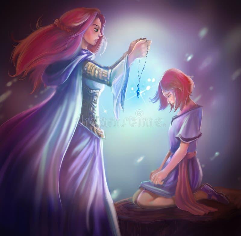 La reine de déesse d'imagination de bande dessinée donne le pendant en cristal à la fille illustration stock