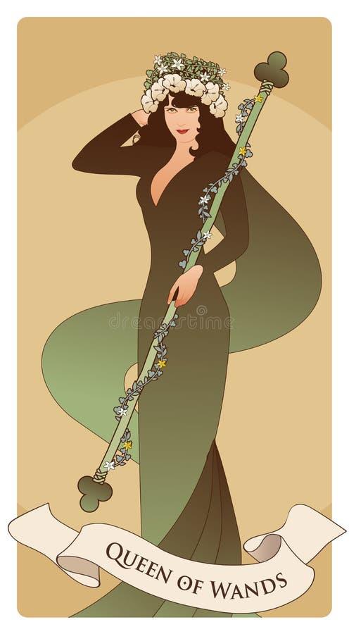 La reine des baguettes magiques avec des fleurs couronnent, jugeant une tige entourée par une guirlande des feuilles et des fleur illustration stock