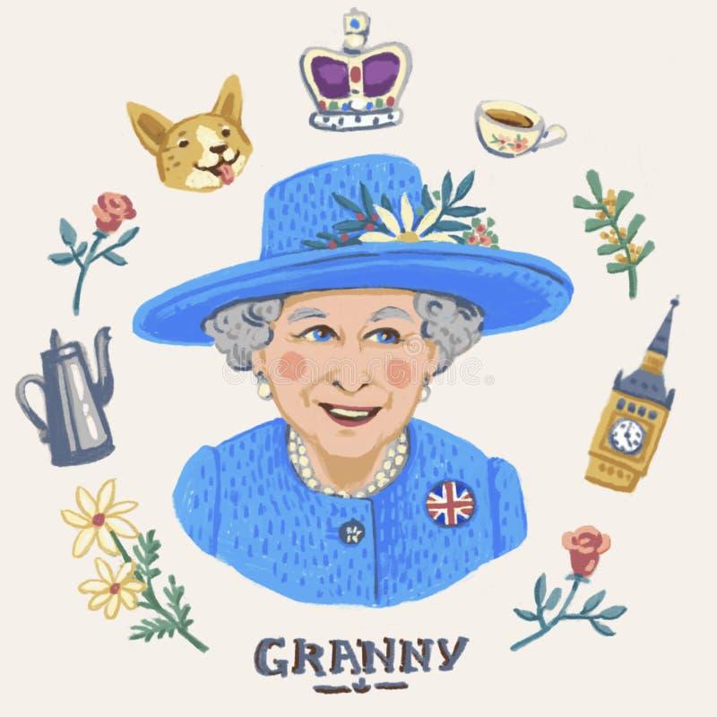 La Reine Elizabeth II illustration stock