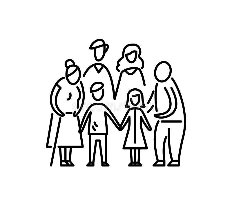 La relación grande de los padres y de los abuelos de los niños de la familia mima a los niños abuelo y abuela del padre stock de ilustración