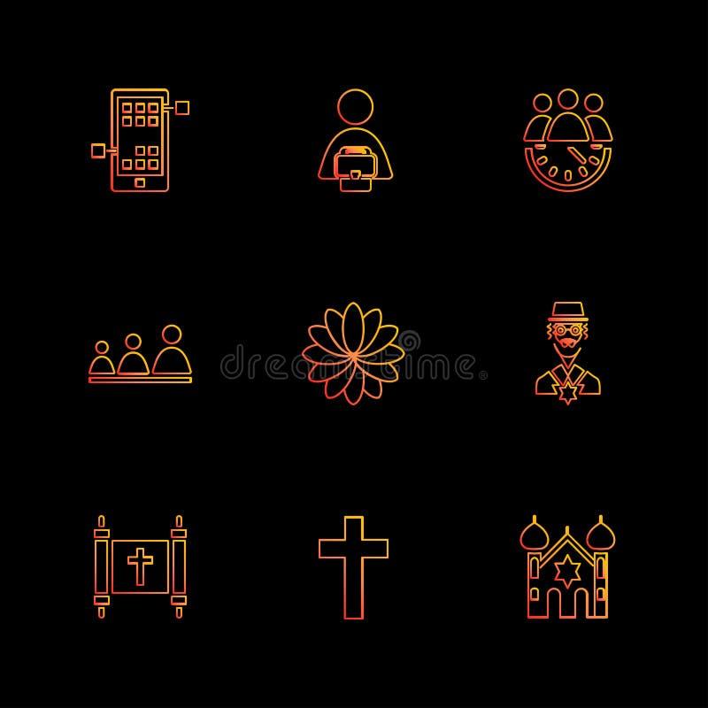 la religión, redes, equipo, ciencia, iconos del EPS fijó vector stock de ilustración