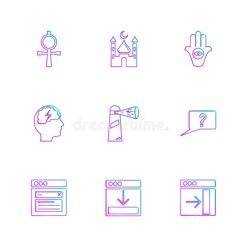 la religión, redes, interfaz de usuario, web, iconos del EPS fijó vecto ilustración del vector