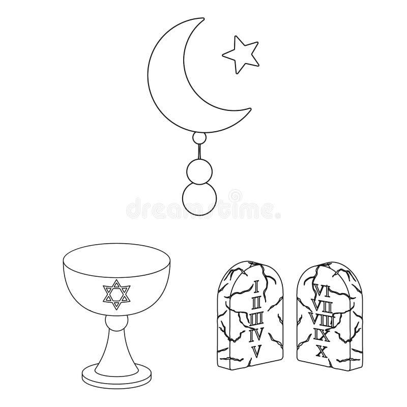 La religión y la creencia resumen iconos en la colección del sistema para el diseño Accesorios, ejemplo del web de la acción del  ilustración del vector
