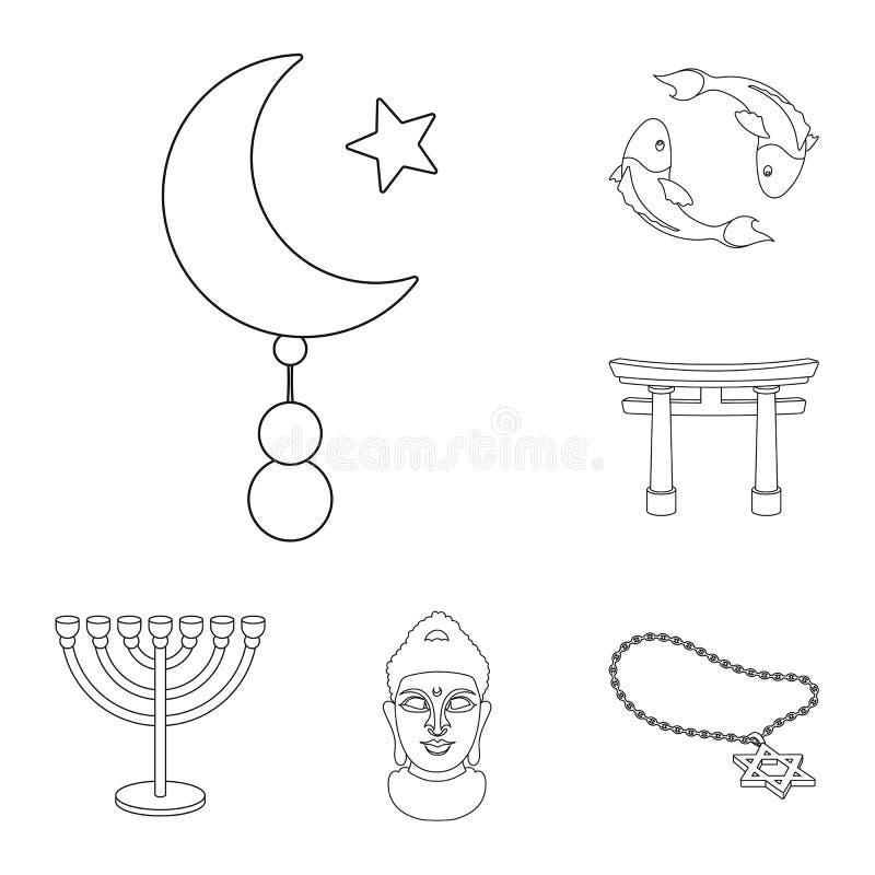 La religión y la creencia resumen iconos en la colección del sistema para el diseño Accesorios, ejemplo del web de la acción del  libre illustration