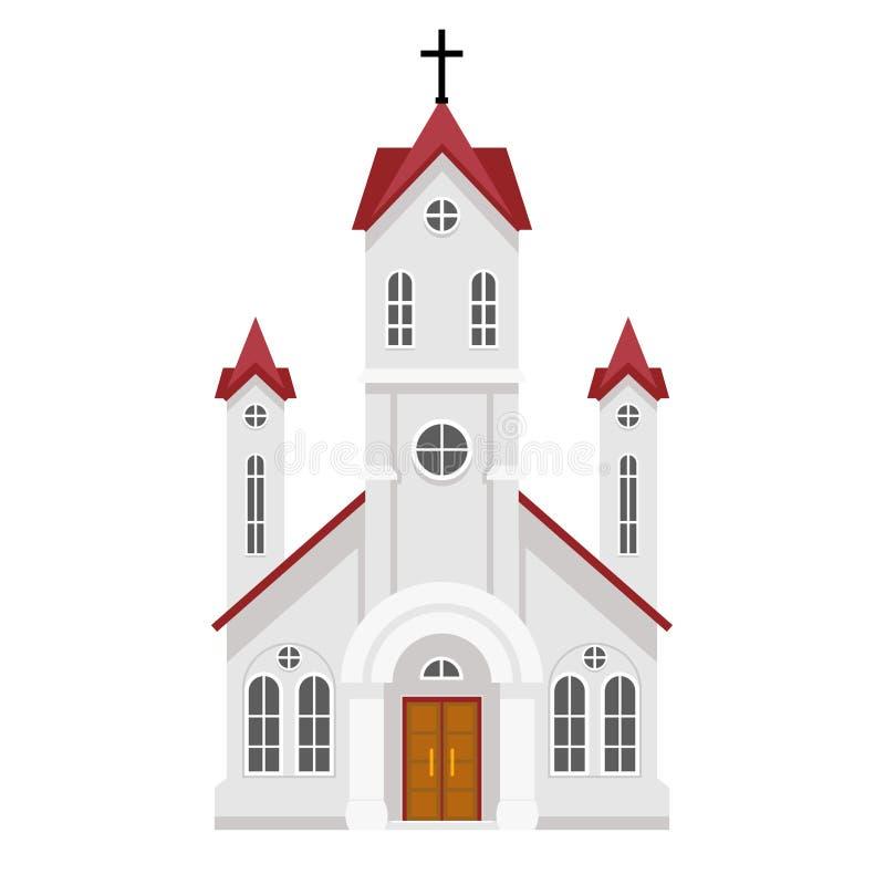 La religion catholique chrétienne traditionnelle d'église de foi établissant la conception plate a isolé l'illustration de vecteu illustration libre de droits