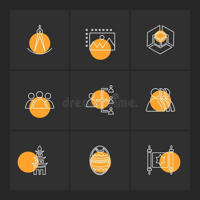 la religione, le reti, gruppo, scienza, icone di ENV ha fissato il vettore illustrazione vettoriale
