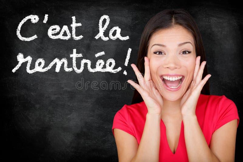 La Rentree Scolaire - Français de Cest de nouveau à l'école photographie stock libre de droits