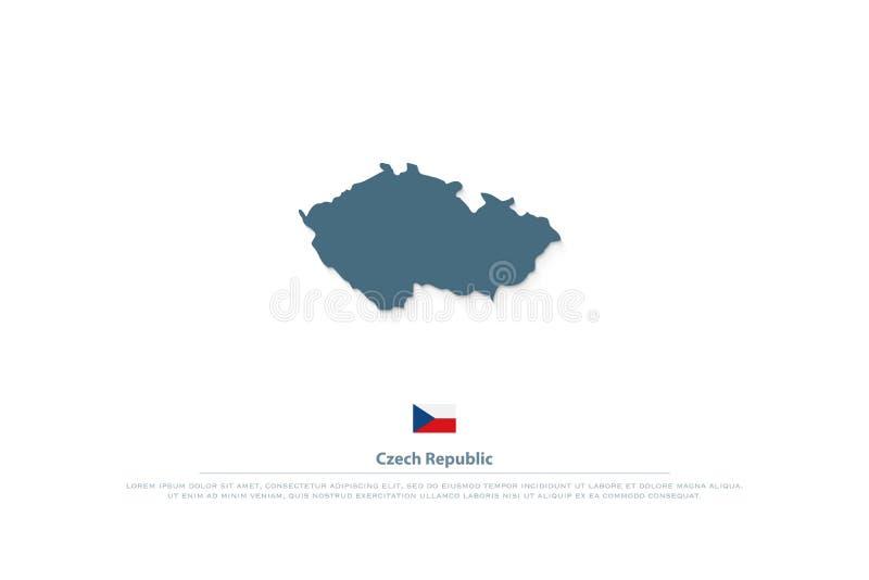 La República Checa aisló iconos de la bandera del mapa y del funcionario logotipo checo del territorio del vector ilustración del vector