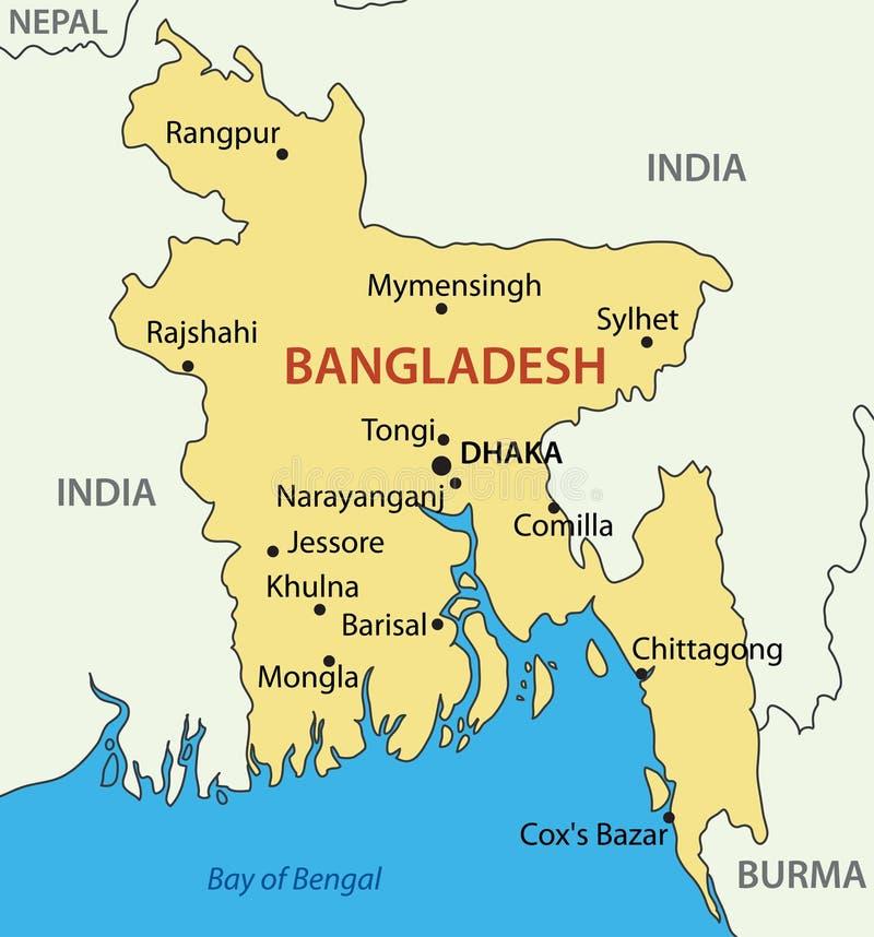La República Popular de Bangladesh - mapa ilustración del vector