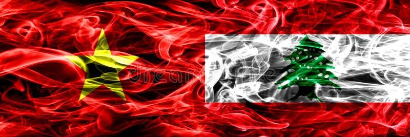 La República Socialista de Vietnam contra Líbano, banderas libanesas del humo colocadas de lado a lado Banderas sedosas coloreada ilustración del vector