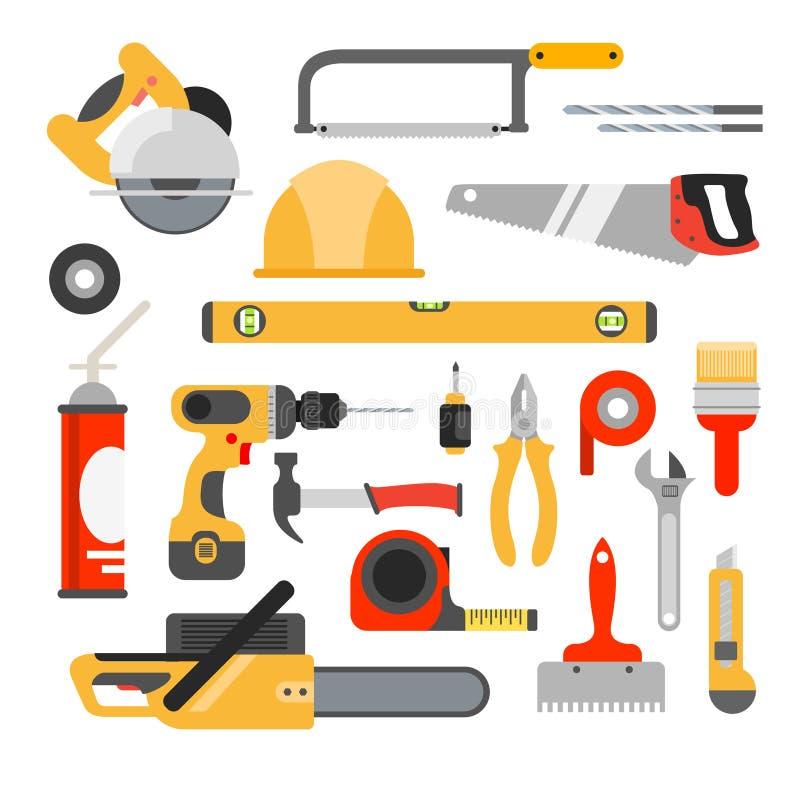 La reparación casera equipa iconos del vector Herramientas de trabajo de la reparación para la reparación libre illustration