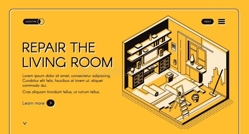 La reparación de la sala de estar trabaja página web isométrica del vector ilustración del vector